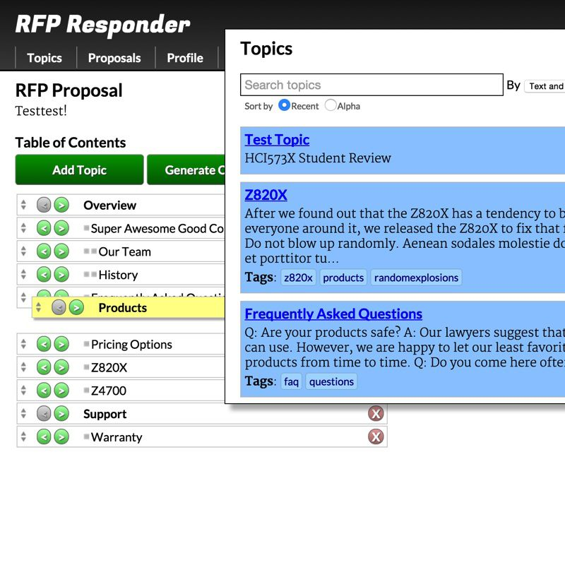 Screenshot of project